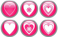 Glossy buttons with hearts Stock Image