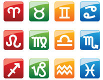 Glossy buttons with horoscope symbols Royalty Free Stock Image