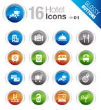 Glossy Buttons - Hotel icons. 16 hotel and resort icons set Royalty Free Stock Images