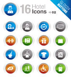 Glossy Buttons - Hotel icons. 16 hotel and resort icons set Stock Photos