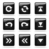 Glossy buttons with icons set. Set of glossy buttons with icons. Black and white series Stock Photos
