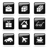 Glossy buttons with icons set. Set of glossy buttons with icons. Black and white series Royalty Free Stock Image