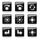 Glossy buttons with icons set. Set of glossy buttons with icons. Black and white series Royalty Free Stock Images