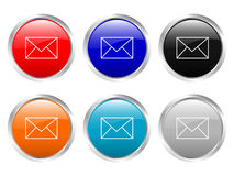Glossy buttons mail Stock Images