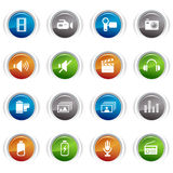 Glossy Buttons - Media Icons. 16 media and technology icons set Stock Illustration