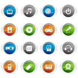 Glossy Buttons - Media Icons. 16 media and technology icons set Royalty Free Stock Image
