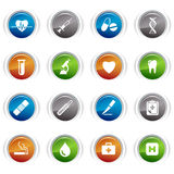 Glossy buttons - medical icons. 16 medical and healthcare icons set royalty free illustration
