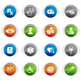 Glossy buttons - medical icons. 16 medical and healthcare icons set vector illustration