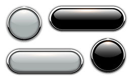 Glossy buttons metallic Stock Photos