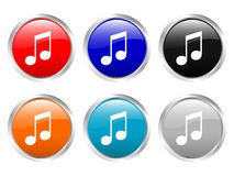 Glossy buttons music Royalty Free Stock Photo
