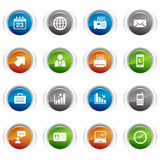 Glossy buttons - Office and Business icons. 16 office and business icons set vector illustration