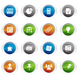 Glossy buttons - Office and Business icons. 16 office and business icons set Stock Image