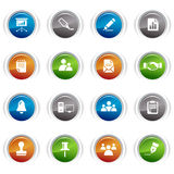 Glossy buttons - Office and Business icons. 16 office and business icons set Royalty Free Stock Image
