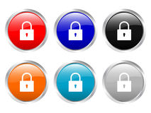 Glossy buttons padlock Stock Photo