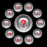 Glossy buttons with  red symbols. Stock Images