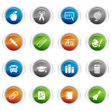 Glossy Buttons - School Icons. 16 school and university icons set Royalty Free Stock Image