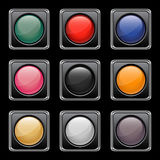 Glossy buttons set Stock Photos