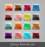 Glossy buttons set. Vector illustration. Colorful glossy buttons Royalty Free Stock Image