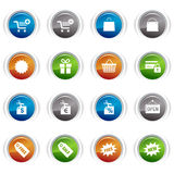 Glossy Buttons - Shopping icons. 16 online shopping icons set stock illustration