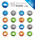 Glossy Buttons - Shopping icons. 16 online shopping icons set royalty free illustration