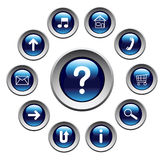 Glossy buttons with symbols. Stock Images