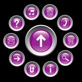 Glossy buttons with symbols. Royalty Free Stock Image