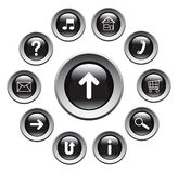 Glossy buttons with symbols. Royalty Free Stock Photography