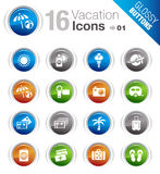 Glossy Buttons - Vacation icons. 16 vacation and travel icons set Royalty Free Stock Photos