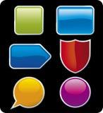 Glossy buttons (vector). Glossy buttons (vector in CMYK mode). Six shiny icons Royalty Free Stock Images