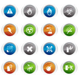 Glossy buttons - warning icons Stock Photos