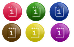 Glossy Calendar Button. Isolated white background web 2.0 calendar glow glossy label Stock Photos