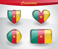 Glossy Cameroon flag icon set Royalty Free Stock Photography