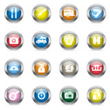 Glossy camping icons Stock Images