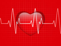 Glossy Cardiogram Glass Red Heart Stock Image