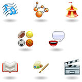 Glossy category education web icons. A subject or category icon set eg. science, language, literature, history, music, physical education etc Stock Photos