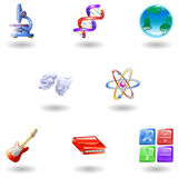 Glossy category education web icons. A subject or category icon set eg. science, maths, literature, geography, music, physics etc Royalty Free Stock Images