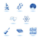 Glossy category education web icons. A subject or category icon set eg. science, maths, literature, geography, music, physics etc Stock Image