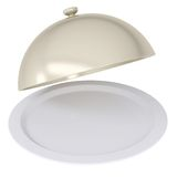 Glossy ceramic salver dish with an cover over it Royalty Free Stock Photos