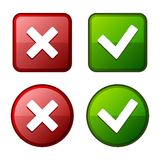 Glossy Check Mark Stickers and Buttons. Red Green. Vector. Stock Photo