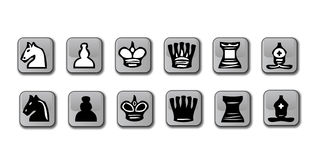 Glossy Chess icons. A set of vector illustrated chess icons for each player royalty free illustration