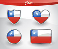 Glossy Chile flag icon set Stock Images