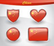 Glossy China flag icon set Royalty Free Stock Photos