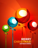 Glossy Christmas baubles, greeting card template Stock Photo