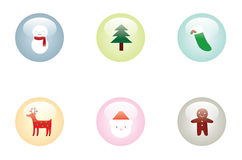 Glossy Christmas Buttons Stock Photography