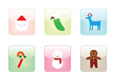 Glossy Christmas  Buttons Stock Image