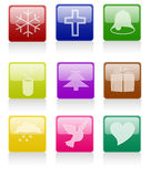 Glossy Christmas Icon Stock Photography