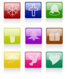 Glossy Christmas Icon Stock Photography