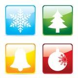Glossy christmas icons Stock Image