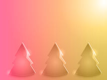Glossy christmas trees pink and yellow Royalty Free Stock Photos
