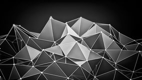 Glossy chrome polygonal shape 3D render. Glossy chrome polygonal shape on black. Abstract futuristic 3D render background Royalty Free Stock Image